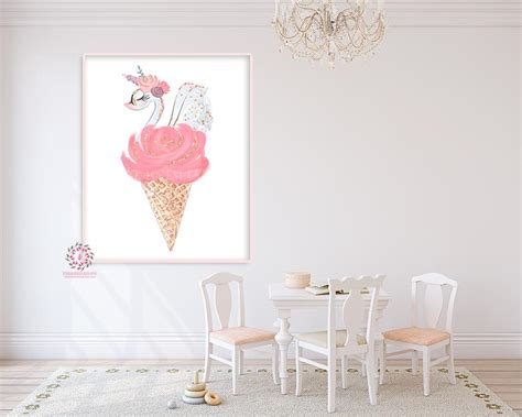 Great savings & free delivery / collection on many items. Boho Swan Nursery Wall Art Print Ice Cream Cone Ethereal Pink Gold Flo - Pink Forest Cafe