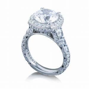 Tacori engagement rings royalt cushion halo setting for Halo engagement rings with wedding bands