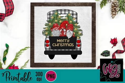 All of these christmas gnome resources are for free download on pngtree. Gnome Christmas Plaid Truck Printable 300 dpi PNG - SVG ...