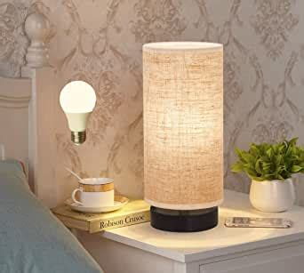 bedside nightstand lamp  cylinder fabric shade