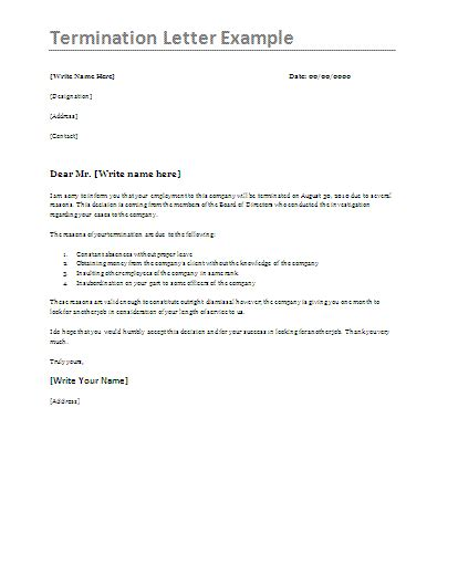 termination letter format  word templates