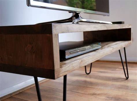 details about vintage retro box tv stand w metal hairpin