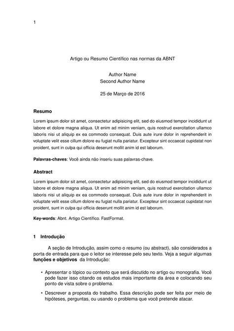 modelo de artigo em word nas normas da abnt 2016 como templates fastformat