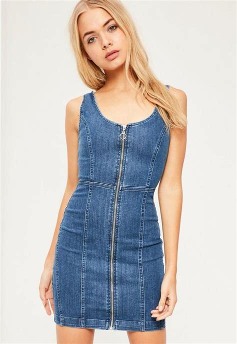 Dress Dona Denim fitted denim dress vintage indigo missguided