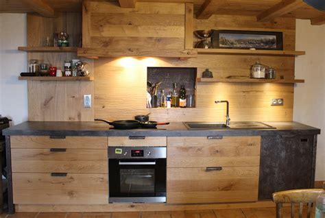 cuisine en chene noueux et metal menuiserie agencement gerard fabrication de cuisine salle