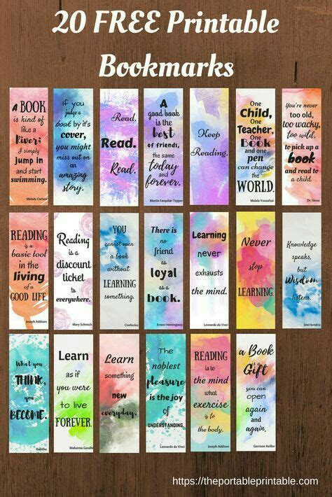 printable bookmarks diy book watercolor color paint quote quotes beautiful paper