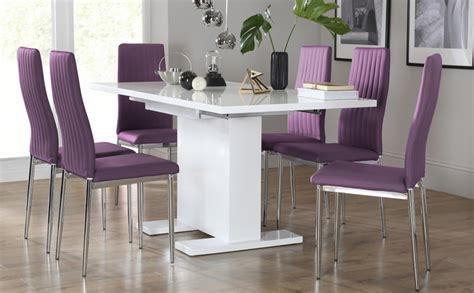 osaka white high gloss extending dining table with 6