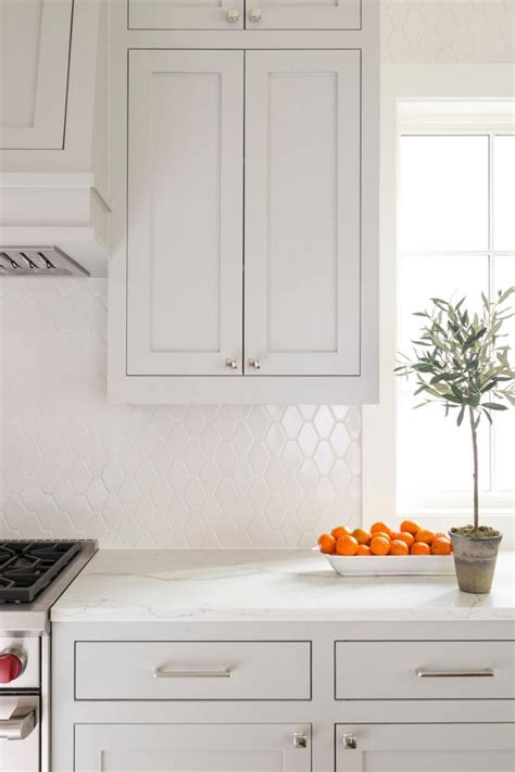 white kitchen quartz countertop  built  cabinets