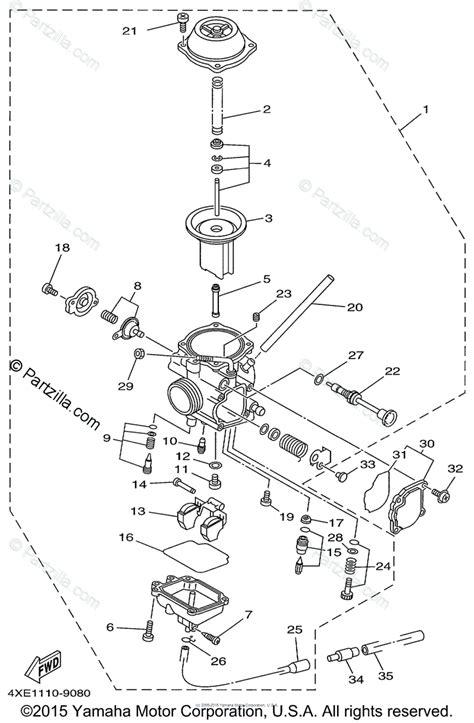 yamaha atv 1999 oem parts diagram for carburetor partzilla com