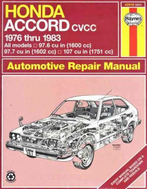 old cars and repair manuals free 1983 honda accord electronic toll collection honda accord 1976 1983 haynes service repair manual sagin workshop car manuals repair books