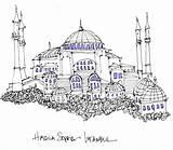 Sophia Hagia Coloring Sketch Istanbul Line Turkey sketch template