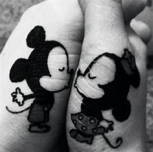 Tattoo ink of Mickey and minnie mouse kissing | Tattoos ...