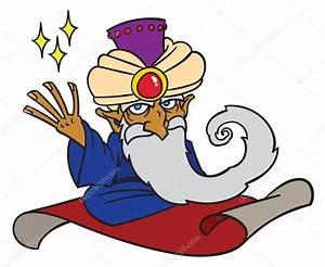 Cartoon Magician on magic carpet — Stock Vector ...