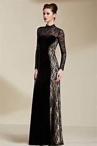 floor length black long sleeve lace formal dress evening With robe longue en velours