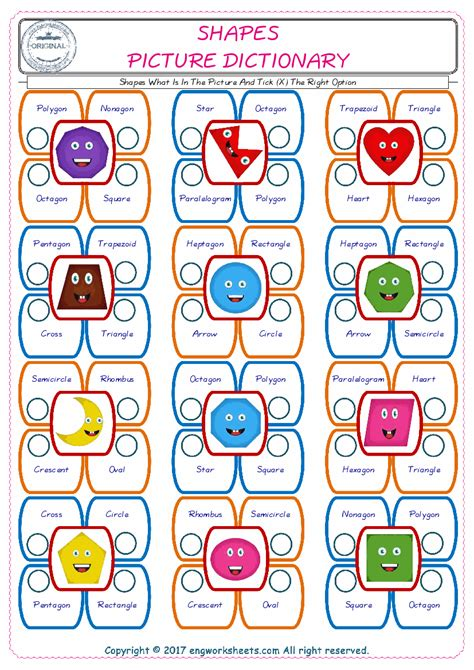 shapes esl printable picture english dictionary worksheets