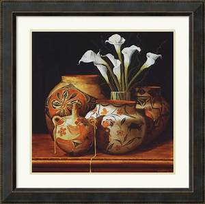 calla lilies and canteen framed print by chuck sabatino With kitchen cabinets lowes with calla lily wall art