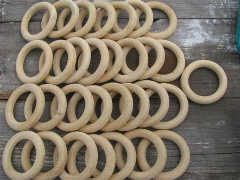 lot of 30 retro wood curtain hanging rings 70s vintage