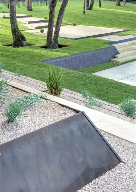 cor ten metal retaining wall landscape contemporary with grass