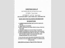Salvation Army Christmas Sign up 928 to 10215 – Cabell