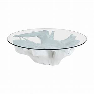 white finished teak root coffee table round glass top elk With root coffee table with glass top