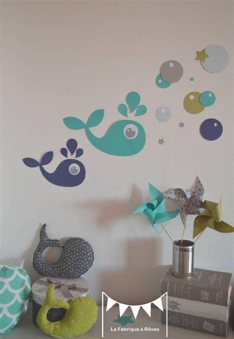 deco chambre bebe bleu gris sur commande stickers baleines vert anis turquoise bleu