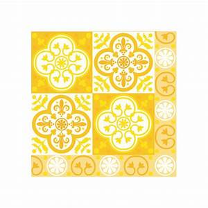 serviette paviot imprime carreaux de ciment jaune en With carreaux de ciment jaune