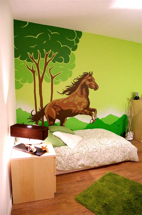 chambre cheval fresque murale décorative studio 832 toulon paca