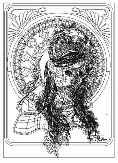 Nouveau Portrait Illustration Illustrator Vector Done Lady