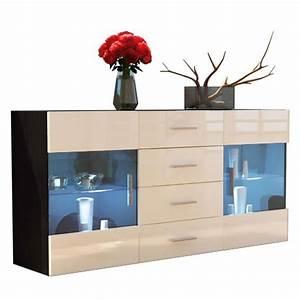 Sideboard Schwarz Matt : sideboard kommode bari korpus in schwarz matt front in creme hochglanz m bel24 ~ Orissabook.com Haus und Dekorationen