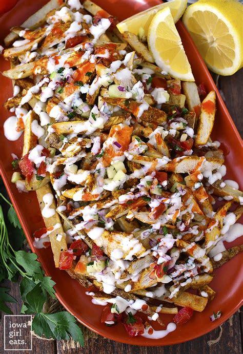 chicken shawarma fries  mediterranean salsa  garlic