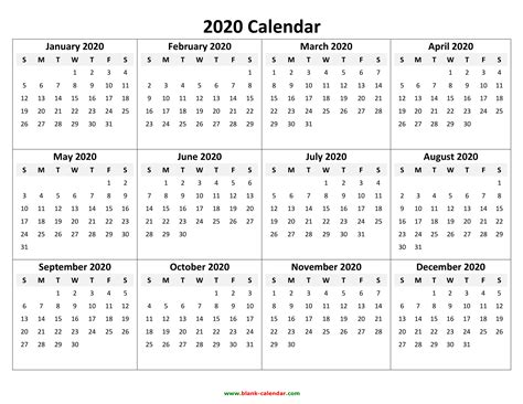 Downloadable Blank Calendar 2020