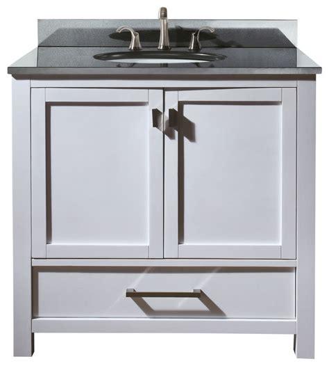 modero 36 vanity combo white black granite top