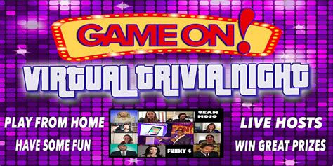 General knowledge, sports, movies, and music trivia games. Game On! Virtual Trivia Night Tickets, Multiple Dates | Eventbrite
