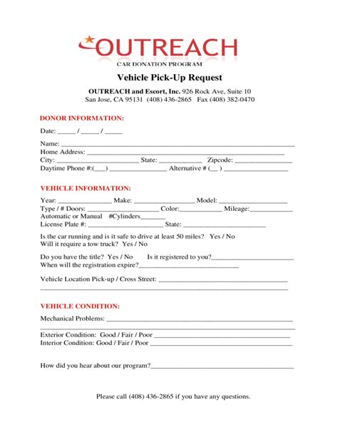 car donation form outreach