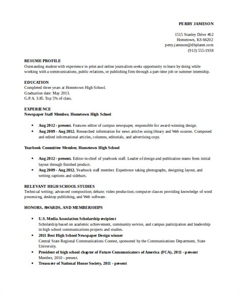 high school academic resume sle template