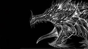 Black White Dragon Background Wallpaper