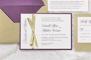 formal gold shimmer purple shimmer antique gold old With formal wedding invitations with ribbon