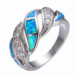 elegant blue fire opal cz wedding band ring women 925 With opal wedding rings for women
