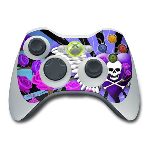 Xbox 360 Controller Skin Skull And Roses Purple By Juleez