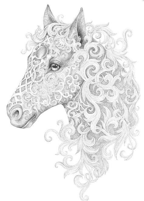 Horse adult colouring page : Colouring In Sheets - Art