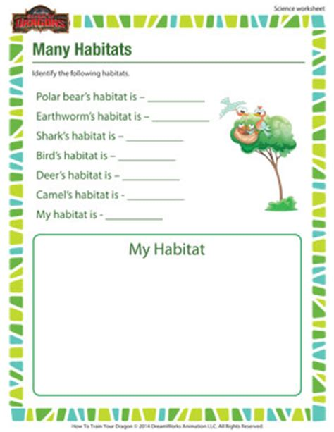 many habitats 1st grade kids science worksheets sod