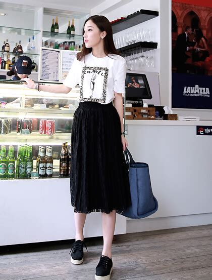 Korean Fashion Skirts Pure Color Lace Hollow Out Elastic Regular Black Long Skirts