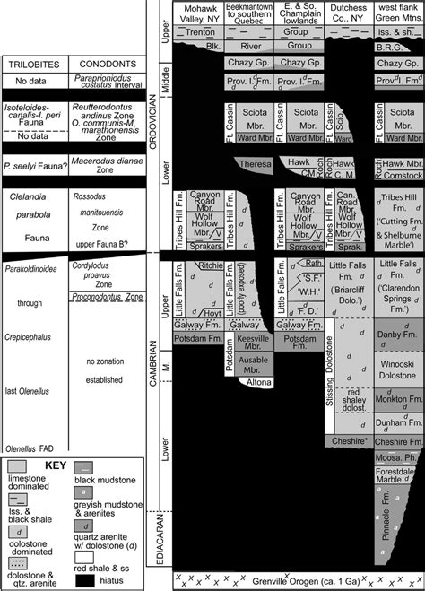 craton platform laurentian columns left stratigraphy ne three landing york publication figure stratigraphic