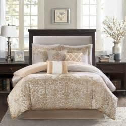 beautiful 7 pc rich elegant modern luxury gold beige white comforter set new ebay