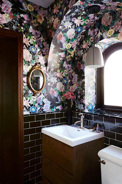 Black Bathroom With Floral Wallpaper Hgtv