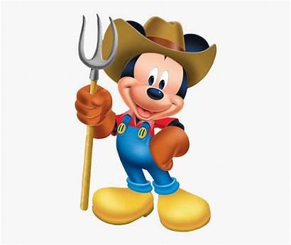Clipart Mickey Mouse Farmer Farm Tractor Transparent