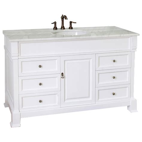 Bathroom Vanities Single Sink by 60 Inch Single Sink Bathroom Vanity With White Marble