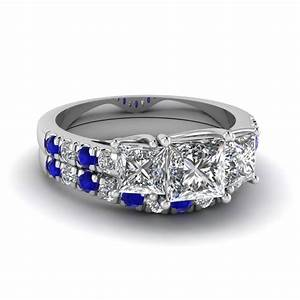 Largest selection of blue sapphire wedding ring sets for Wedding ring sets with sapphire accents