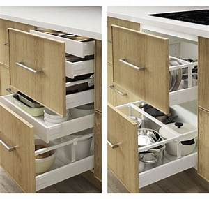 amnagement tiroirs cuisine tiroirs de rangement astucieux With rangement coulissant cuisine ikea