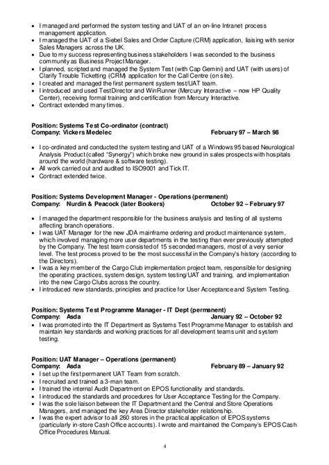 software testing project manager resume test manager cv 2015